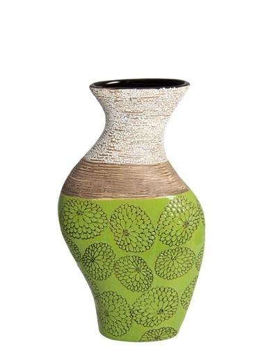 Herevin Çiçek Motifli Seramik Dekoratif Vazo Yeşil Yeşil